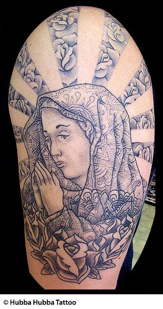 virgin mary with roses tattoo christian tattoos jesus rosary praying