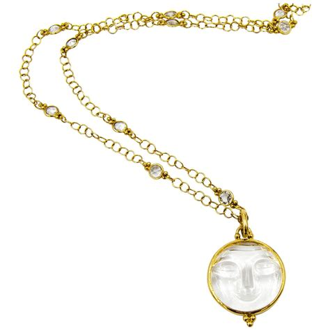 temple st clair moon pendant and chain at 1stdibs