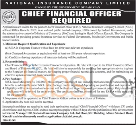 Cfo With Mba Average Salary by National Insurance Company Limited For Chief