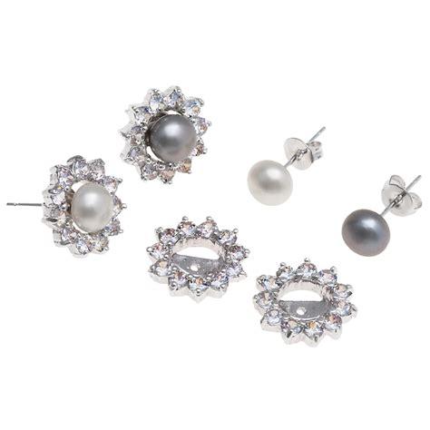 jokara freshwater pearl and cubic zirconia earring set