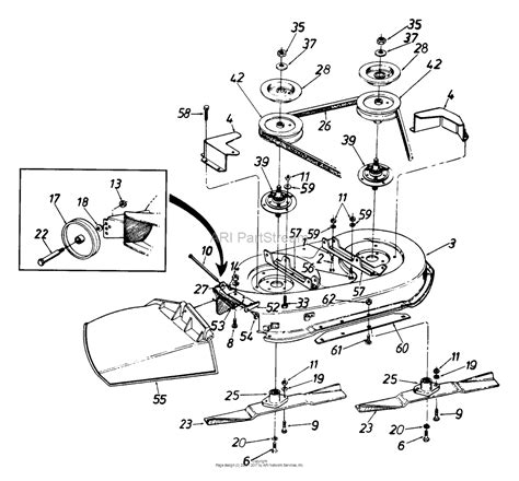 mtd mower deck diagram mtd 134a676f190 38 quot lawn tractor lt 13 1994 parts