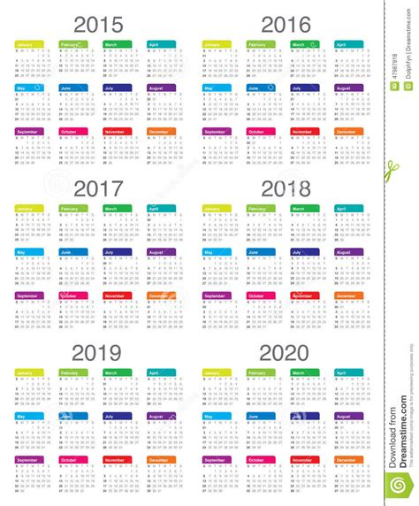 Calendrier 2017 Avec Numéro De Semaine Vacances Scolaires Calendrier 2015 2016 2017 2018 2019 2020 Photo Stock
