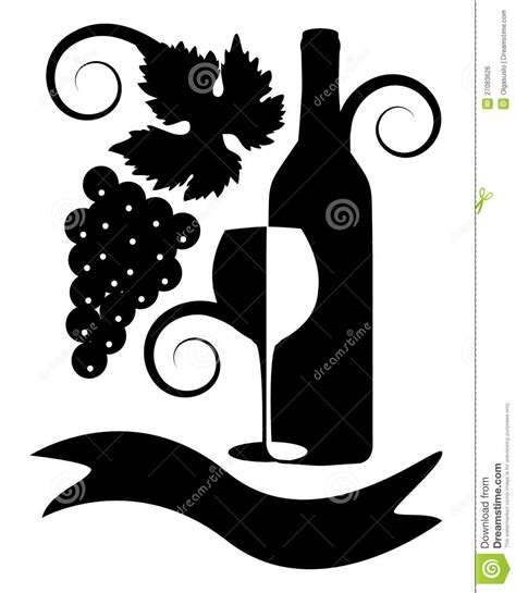 clipart bianco e nero immagine in bianco e nero di vino illustrazione vettoriale
