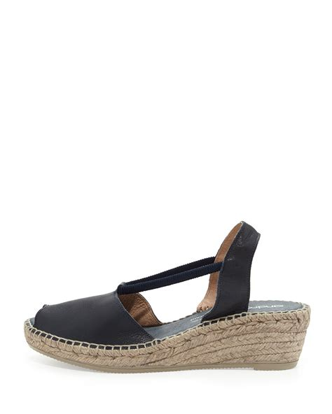 Wedges Jm 30 1 lyst andre assous dainty leather slip on espadrille wedge in blue