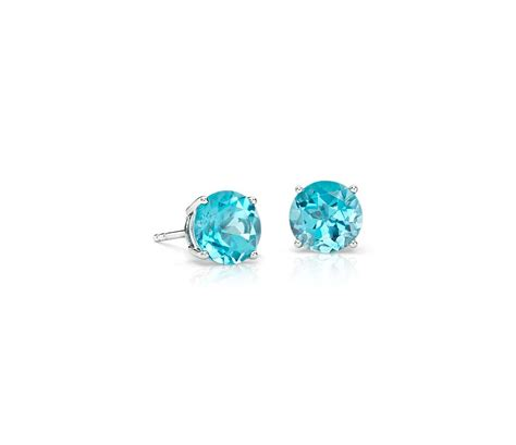 studs earrings blue topaz stud earrings in 18k white gold 7mm blue nile