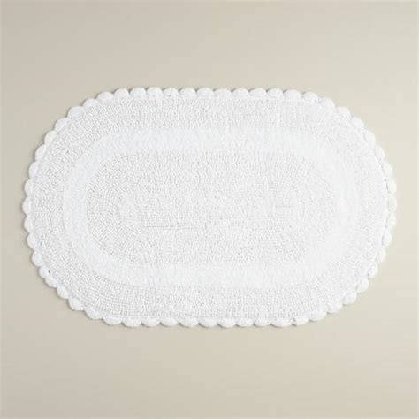 white oval rug white oval crochet bath mat world market