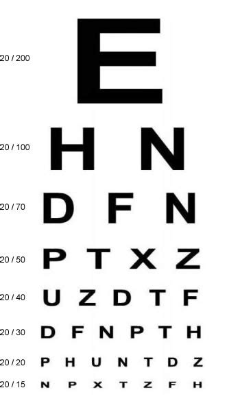 printable eye acuity chart visual acuity testing