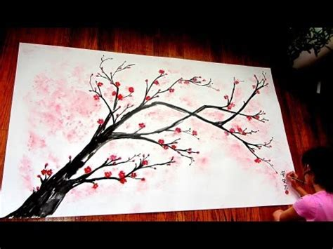 cherry blossom branch speed painting how to paint a tree blowing in the wind step by step