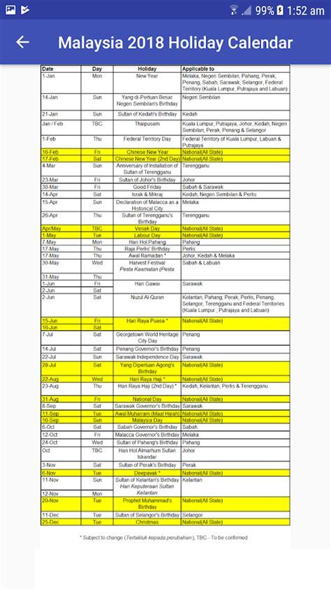 Calendar 2018 Malaysia Selangor Malaysia 2018 Calendar 1 22 Apk Android