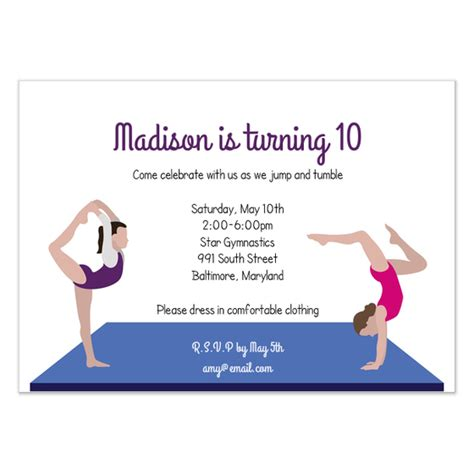 Gymnastics Invitation Invitations Cards On Pingg Com Gymnastics Birthday Invitation Templates