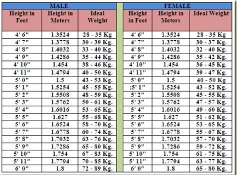 ideal weight chart with height and weight sports bmi chart height to weight chart in kgs healthy