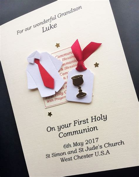 Holy Communion Cards And Gifts - boys personalised first holy communion card boy s communion shirt chalice for