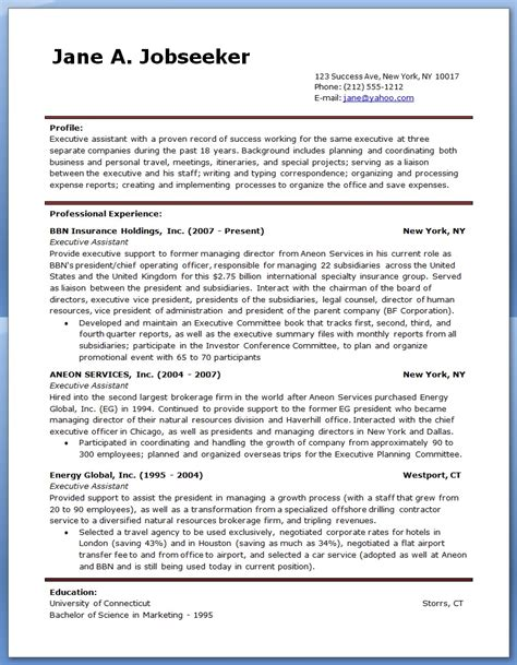 Example Of Secretary Resume by Sample Executive Assistant Resume Resume Downloads