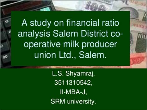 Mba Internship Projects In Finance by Aavin Ratio Analysis Mba In Finance Ppt For Internship Project