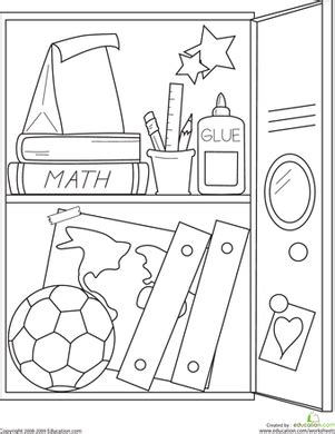 school stationery coloring pages school locker worksheet education com