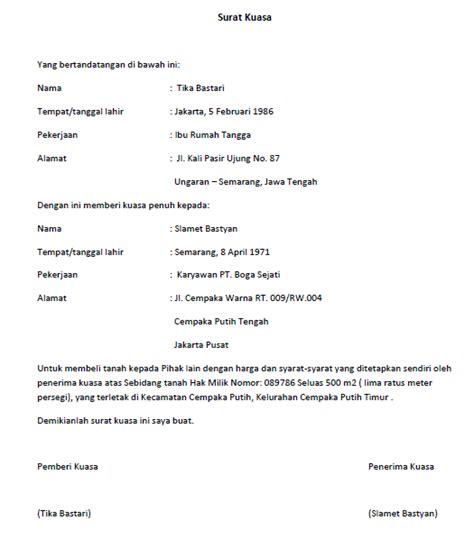 contoh format surat kuasa insidentil contoh surat kuasa harta wisata dan info sumbar