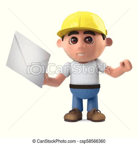 3d construction worker receives mail 3d render of a clip art vector search drawings and