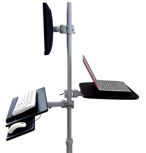Pole Shelf System by Mobile Pole Computer Workstation Sit To Stand Height