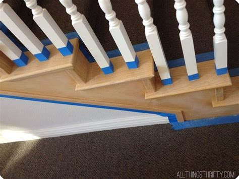 restaining banister how to stain an ugly oak banister dark all things thrifty