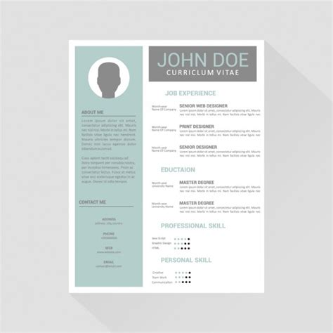 Creating Cv Template Word by Curriculum Vitae Template Design Vector Free