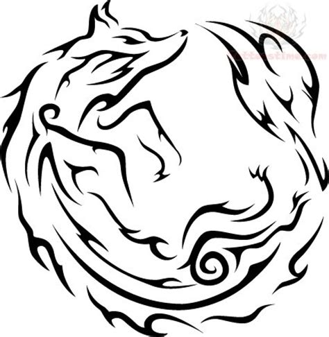 tribal circle tattoo tribal circle fox design