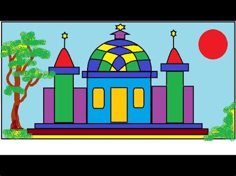 tutorial menggambar yang bagus cara menggambar masjid tutorial paint youtube