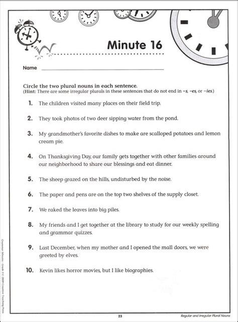 Grammar Grade 5 Worksheets by Grammar Minutes Grade 5 011699 Details Rainbow