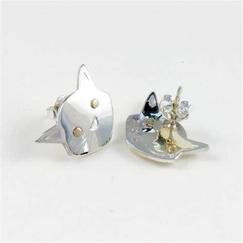 cat stud earrings by saba jewellery notonthehighstreet