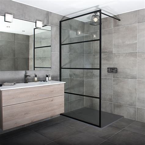 Bath Shower Screens Glass black shower screens in an art deco style by drench