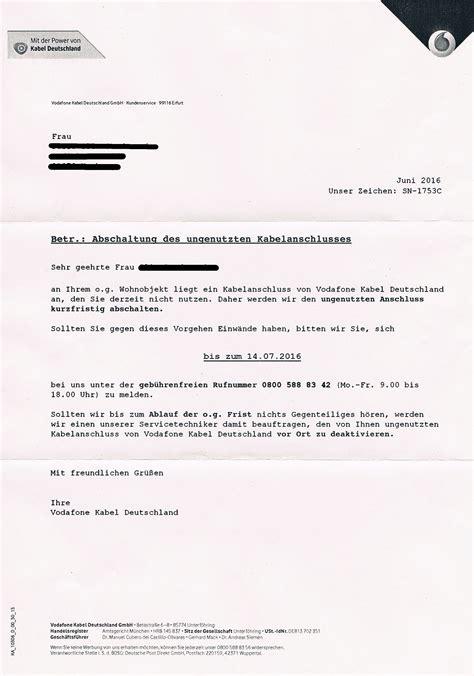 Offizieller Brief Bitte Gel 246 St Brief Abschaltung Des Ungenutzten Kabelanschlusse Vodafone Community