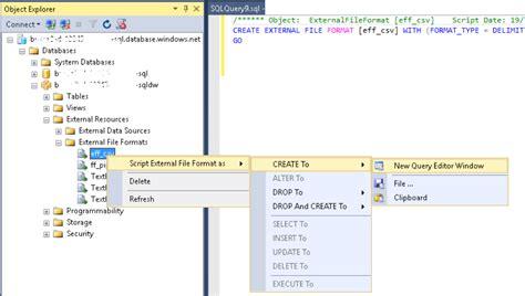 format file sql server dump ddl for external file format azure sql dw