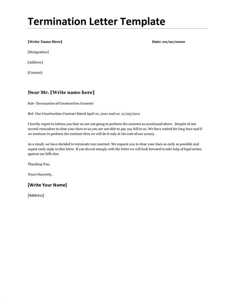 Contract Termination Letter Draft Company Termination Letter