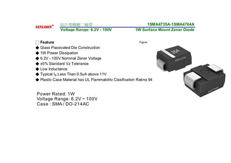 surface mount zener diode 1sma4735a 1sma4764a 1w 6 2v 100v