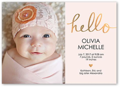 templates for birth announcements for a baby girl hello love baby girl 5x7 unique birth announcements tiny