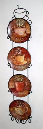 Coffee Themed Home Decor by 4 Piece Coffee House Bistro Cafe Wall Plate Rack Set Decor