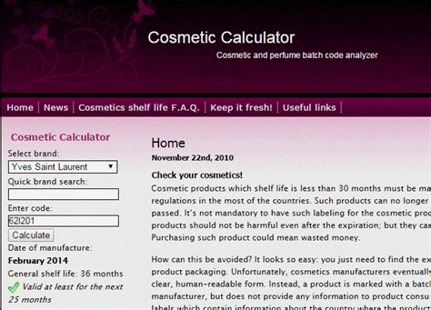 Calculator Cosmetic | cosmetics shelf life calculator