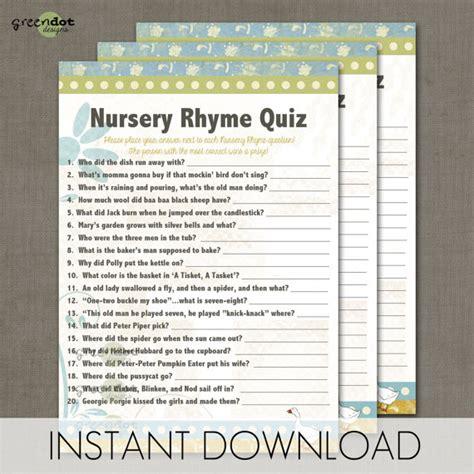 Baby Shower On Nursery Rhymes 7 Best Images Of Printable Nursery Rhyme Trivia Printable Baby Shower Nursery Rhyme
