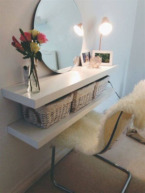 £10 ikea floating shelves as a dressing table!    new