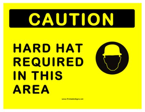 printable hard hat area sign printable hard hats required sign