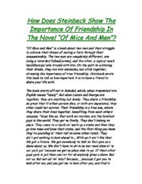 Importance Of Friendship Essay by How Does Steinbeck Show The Importance Of Friendship In The Novel Gcse Marked By