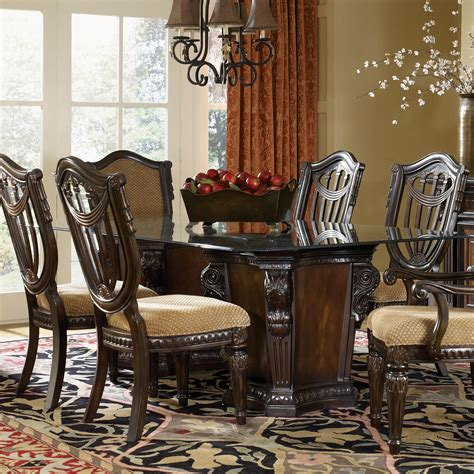 dream home furniture fairmont designs grand estates pedestal glass dinner table