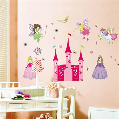 Fairy Princess Wall Stickers removable vinyl mural wall sticker fairy princess castle
