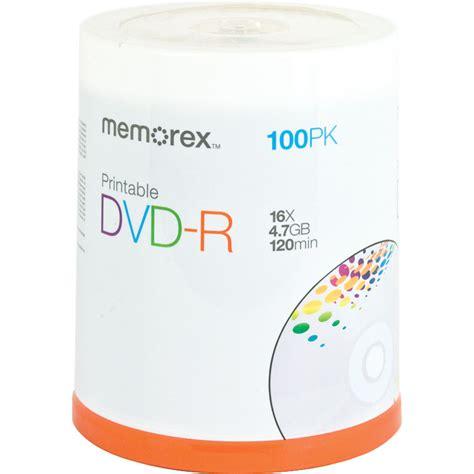 memorex dvd r 4 7gb 16x white inkjet printable discs 05642 b h