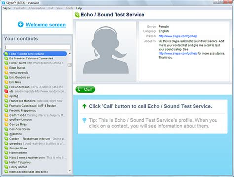 click call button to call echo sound test service