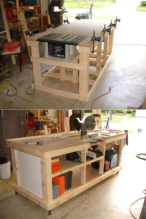 diy ultimate workbench table   outfeed chop