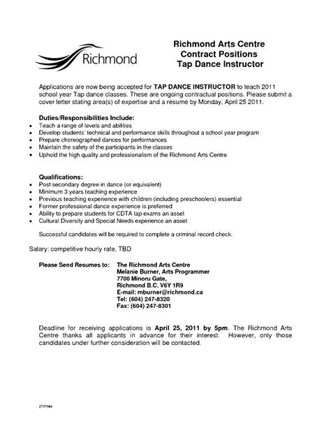 dance teacher resume format free sles exles