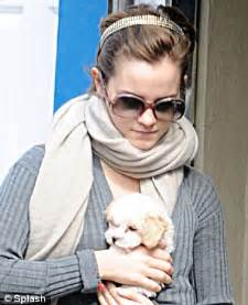 emma watson's wizard wheeze as she dyes her puppy pink