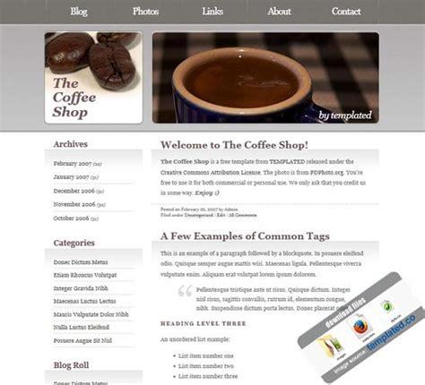 best coffee shop websites coffee shop website template free free website