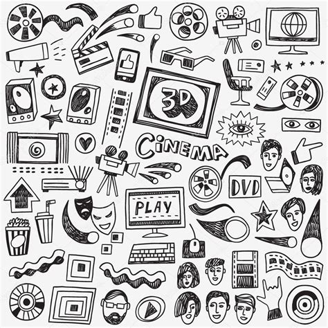 cine y musica malditos cinema doodles stock vector 169 topform 73620015