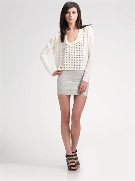 pleasure doing business high waist bandage skirt in white